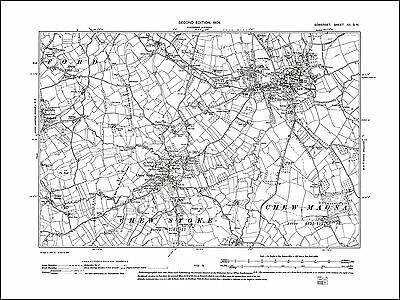 Chew Magna, Chew Stoke, old map Somerset 1904: 12SW repro