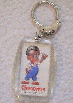 Vintage French Chocreve French Chocolate Co Plastic Keychain Ring