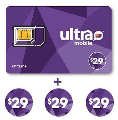 Ultra Mobile $29 Multi-Month Plan for 3 Months with SIM card - FREE SHIPPING