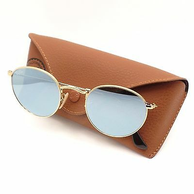 b3dff19506 Ray Ban 3447 N 001 30 Shiny Gold Flat Mirror New Sunglasses Authentic