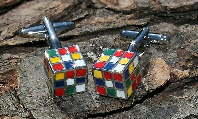 Men Stainless Steel Rubic Cube  Cuff Links and Gift Box Cufflinks
