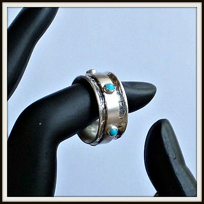 OOAK Meditation spinner fidget ring sterling silver natural turquoise Size 7US