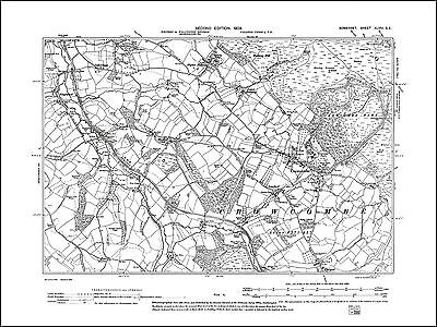 old map Somerset 1904 Kilve 36SE repro East and West Quantoxhead