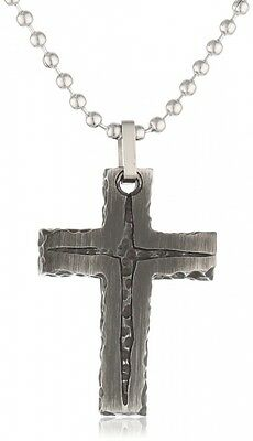 Men's Stainless Steel Stone Finish with Black IP Cross Pendant Necklace. Deliver
