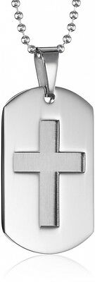Men's Stainless Steel Cross Dog Tag Pendant Necklace, 55.9cm. Shipping is Free