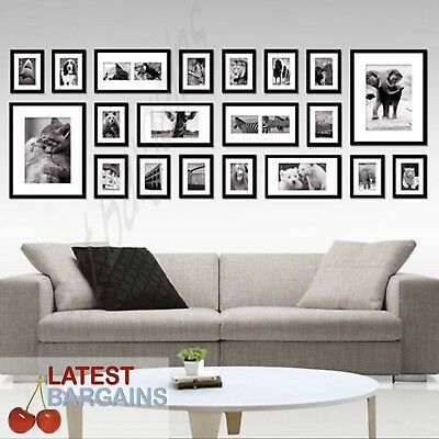 NEW 20 Piece Collage Photo Frame Wall Set Picture Frame Black Home Decor Art