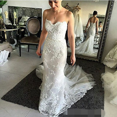 New Mermaid Bridal Dresses Formal Wedding Gown Lace Sweetheart Custom