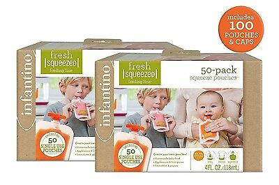 Infantino Squeeze Pouches, 100 Count. Free Shipping