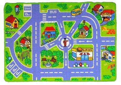 New Childrens Rug Floor play Mat Kids CITY STREETS Road Activity Car 80 x125cm