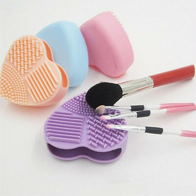 1 Pc Heart-shaped Clean Mat Silicone Brush Cosmetic Brush Cleanser 4 Colors