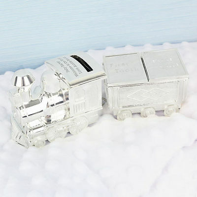 personalised silver Train Money Box with tooth and curl trinket
