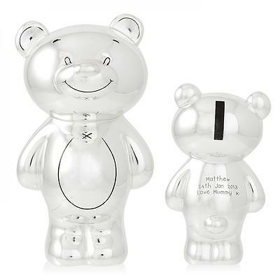 personalised silver plated Teddy Bear Money Box - just add your special words