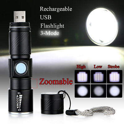 Mini CREE Q5 LED 1000 Lm USB Rechargeable Zoomable Focus Flashlight Torch Light