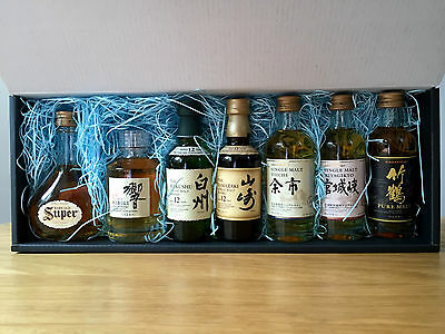 Suntory and Nikka Japanese Blended and Single Malt Whisky set of 7 x 50ml