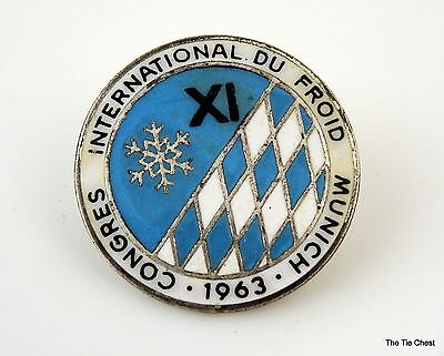 Old Vintage Pin Brooch Congres International du Froid Munich 1963