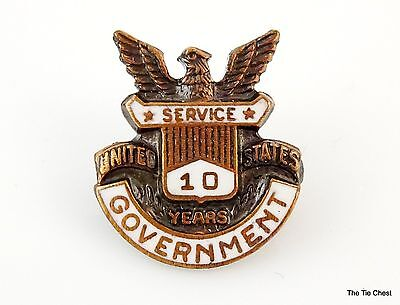 Vintage Pin Brooch 10 Years of Service United States US Government