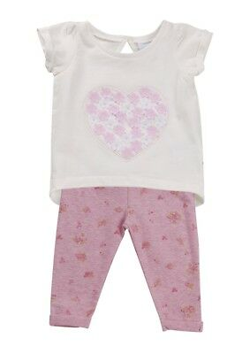 REDUCED Baby Girls 2 Piece Outfit Set T Shirt + Leggings Floral  3D Hearts Size