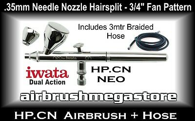 Iwata Neo Airbrush HP.CN .35mm Inc: 3mtr Braided Hose + Free Insured Post