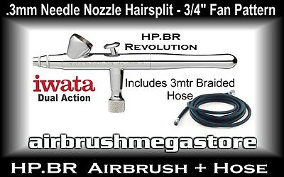 Iwata Revolution Airbrush HP.BR .3mm Inc: 3mtr Braided Hose + Free Insured Post