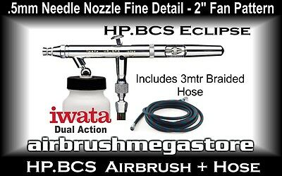 Iwata Eclipse Airbrush HP.BCS .5mm Inc: 3mtr Braided Hose + Free Insured Post