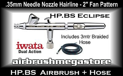 Iwata Eclipse Airbrush HP.BS .35mm Inc: 3mtr Braided Hose + Free Insured Post