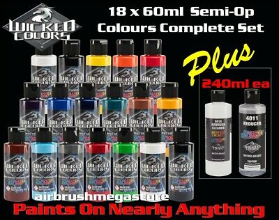 Wicked Airbrush Colors 60ml Base Colours 18 Set + 240ml 4012 & Cleaner
