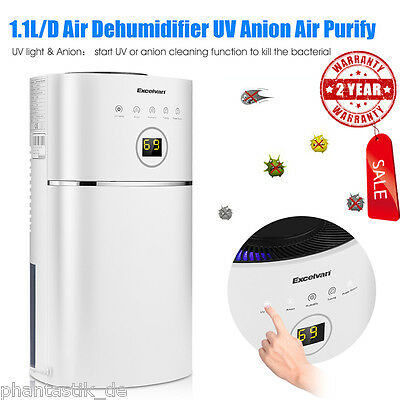 2.4L Air Dehumidifier Dryer Damp Mould Moisture Home Kitchen Bedroom Office LED