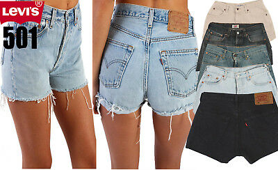 Grade A Levis 501 Denim Shorts High Waisted Hotpants Women Jeans 8 10 12 14 16