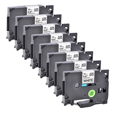 8PK Laminated Label Tape For Brother P-touch Black on White TZ TZe-231 PT-H100