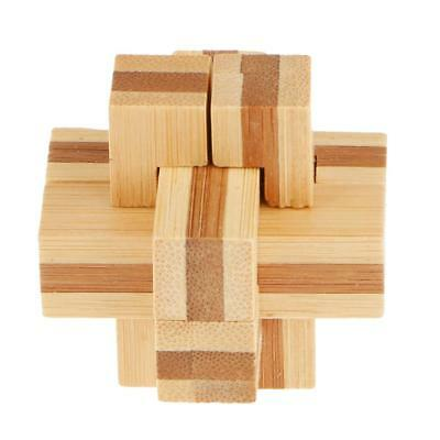 Adult Children Educational IQ Training Intelligent Wooden Lock Puzzle Toy #3