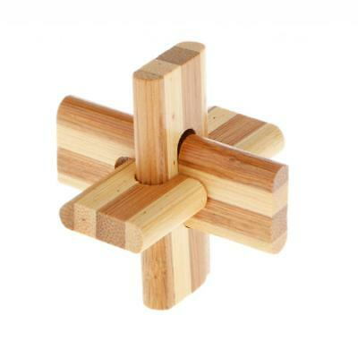 Adult Children Educational IQ Training Intelligent Wooden Lock Puzzle Toy #4