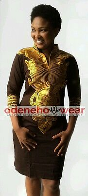 Odeneho Wear Ladies Brown Cotton Dress With  Gold Embroidery.African Clothing.