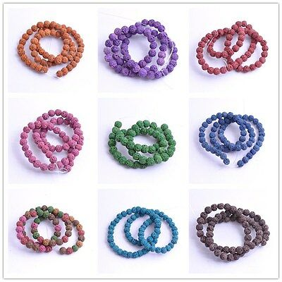 Natural Stone Beads Lava Rock Round Jewelry Making Gemstone U Pick Colour  15''