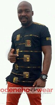 Odeneho Wear Men's Black Polished Cotton Top Only With Dashiki.African Clothing