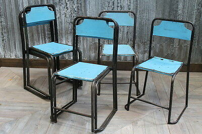 Vintage Metal Cafe Stackable Chair In Light Blue Large Quantity Available