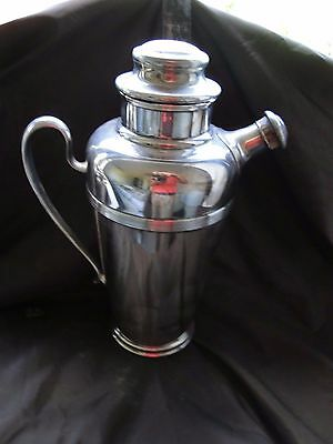 Cocktail Shaker Silver Plated English 1920 Art Deco, Retailed By Harrods