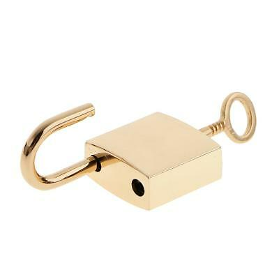 Lot of 3 Small Golden Padlock Mini Tiny Lock with Key Jewelry Box Drawer