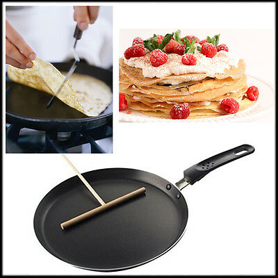 Pancake Crepe Frypan Non Stick Pan Wooden Batter Dispenser Spreader Nonstick Egg