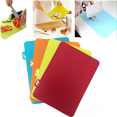 Chopping Mats 4pc Flexible Colour Coded Slicing Cutting Boards Plastic Kitchen