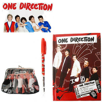 One Direction Boy Band 1D Fan Notebook Girl's Notepad Book / Clip Pocket Purse