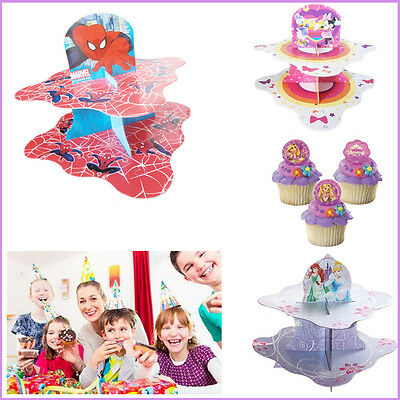 2-Tier Party Cup Cake Stand Disney Snack Stands Kids Birthday Table Organiser
