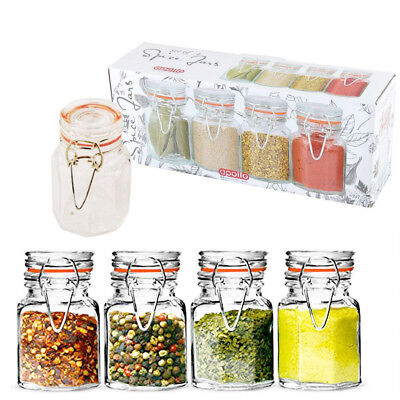 8 Mini Spice Herb Jars Airtight Kitchen Storage Set Containers Canisters Glass