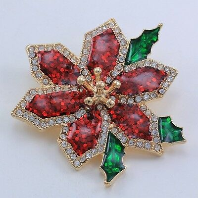 Christmas Poinsettia Flower Brooch Pin Gold Tone Christmas Jewellery. Free Deliv