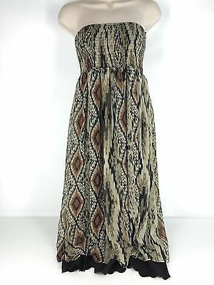 449d452687c7 Rancho Estancia Southwest Cowgirl Western Dress Brown Aztec Strapless Maxi  S M L