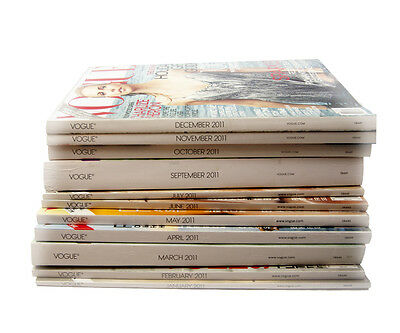 Vogue magazine Lot of 11 issues from 2011