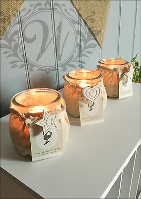 Wedding Decor Candle Holder Heart Vintage Glass Tealight set of 3 Hessian Scent