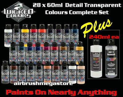 Wicked Airbrush Colors 60ml Detail Colours 27 Set + 240ml 4012 & Cleaner