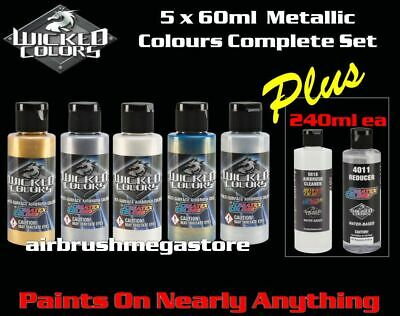 Wicked Airbrush Colors 60ml Metallic Colours 5 Set + 240ml 4012 & Cleaner