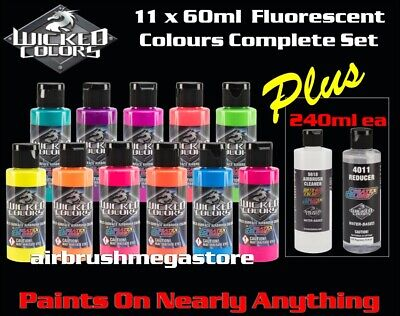 Wicked Airbrush Colors 60ml Fluro Colours 11 Set + 240ml 4012 & Cleaner