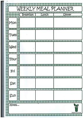 A4 Weekly Meal /  Food  Planner - Magnetic Tear Off Top Quality Australian Made